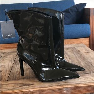 NWT Zara Patent Leather Green Pointed Toe Boot